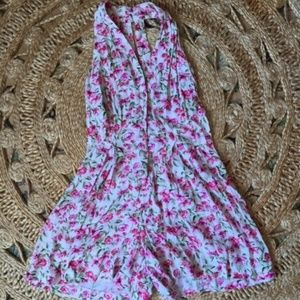 80's Pink and White Floral Romper